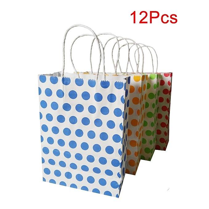 12 Bolsas de Papel con Asas,Papel Kraft de Blanco con Puntos de Colores,Bolsas Papel Regalo de Cumpleaños para Fiestas