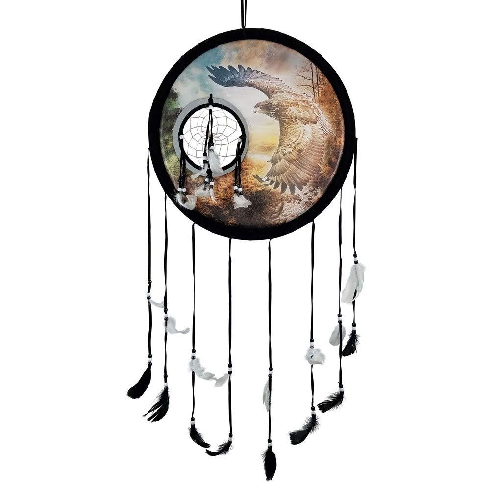 Imprints Plus Eagle in Flight Medicine Shield Dream Catcher - 14'' x 24'' Natural Wall Hanging with Feathers and Beads Includes Instructional Card and Nail (K 2 DC 15174K D)