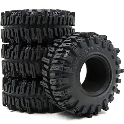 "hobbysoul 4pcs RC 2.2"" Mud slingers Tires Sticky Crawler Tires Height 124mm W/ Foam: Toys & Games"