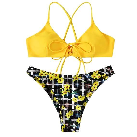 1fc96b8a0b6c Bikini Sexy para Mujer Estampado de Margaritas Traje de baño ...