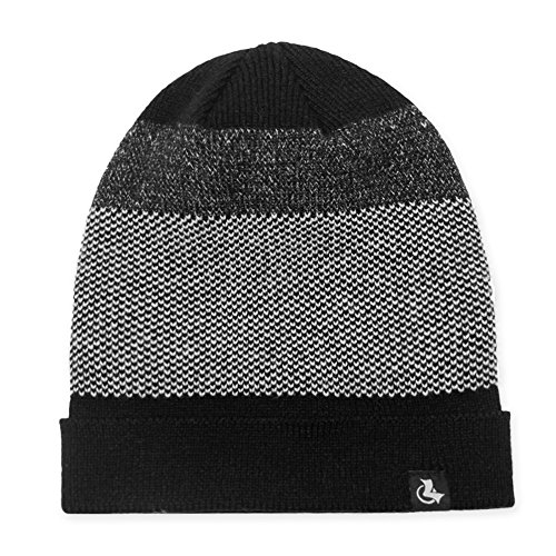 (LETHMIK Mens Slouchy Cuff Beanie Mix Knit Winter Watch Cap Acrylic Skull Hat Black)