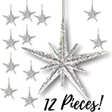 """Christmas Moravian Star Ornaments - Set Of 12 Stars - 4 1/2"""" H Clear Acrylic With Silver Glitter - Hanging Christmas Decorations"""