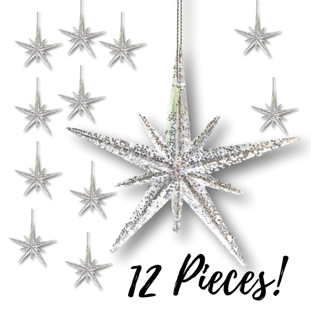 Silver Glitter Christmas Moravian Star Ornaments Set of 12 | ChristmasTablescapeDecor.com
