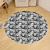Gzhihine Custom round floor mat Skulls Decorations Flowers And Skulls Day Catholic Ceremony Artistic Design Art Bedroom Living Room Dorm Decor