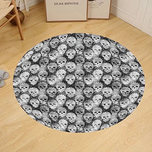 Gzhihine Custom round floor mat Skulls Decorations Flowers And Skulls Day Catholic Ceremony Artistic Design Art Bedroom Living Room Dorm Decor by Gzhihine