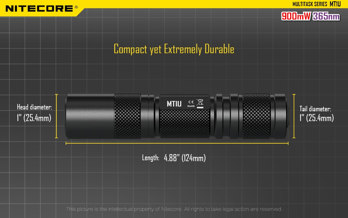 Nitecore MT1U Multi-Task 365nm Professional Ultraviolet Blacklight LED Flashlight with high capactity 3400 mAh Rechargeable Batteries, UM10 USB Charger and Battery Organizer by Nitecore (Image #6)