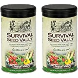Survival Seed Vault Non-GMO Hardy Heirloom Seeds for Long-Term Emergency Storage – 20 Variety Pack in a Sturdy Can (2 PACK)