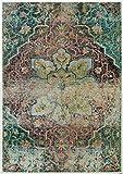 Rivet Distressed Floral Medallion Rug, 7'10 x 11′, Aqua