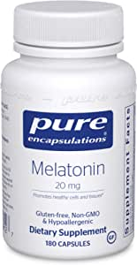 Pure Encapsulations - Melatonin 20 mg - Hypoallergenic Supplement Promotes Healthy Cells and Tissues - 180 Capsules