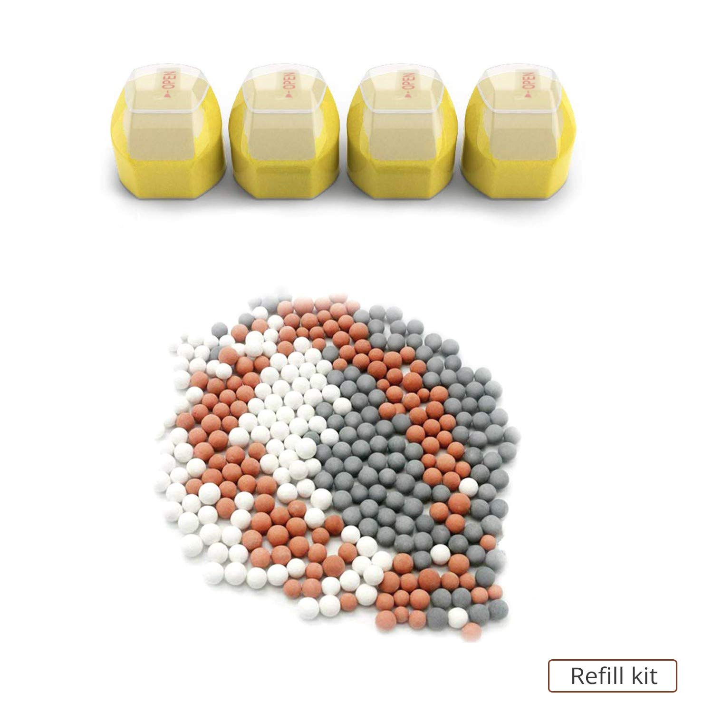 Fluoride Hard Water Shower Tech Pro Vitamin C Shower Filter Refill Kit for Multi-Stage Showerhead Impurities pH Balance Tourmaline Balls Help Remove Chlorine
