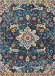 Celestial Boho Medallion Area Rug Yellow, Blue, Purple Distressed Traditional Vintage Floral Oriental