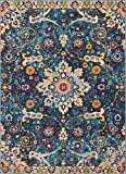 Well Woven Celestial Boho Medallion 8x11 (7'10' x 9'10') Area Rug Blue Distressed Traditional Vintage Floral Oriental