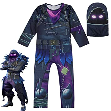 zhaolian888 Disfraz de Halloween Cosplay Fortnite Skull Trooper para niños, Body Ajustado de Fortnite Jumpsuit