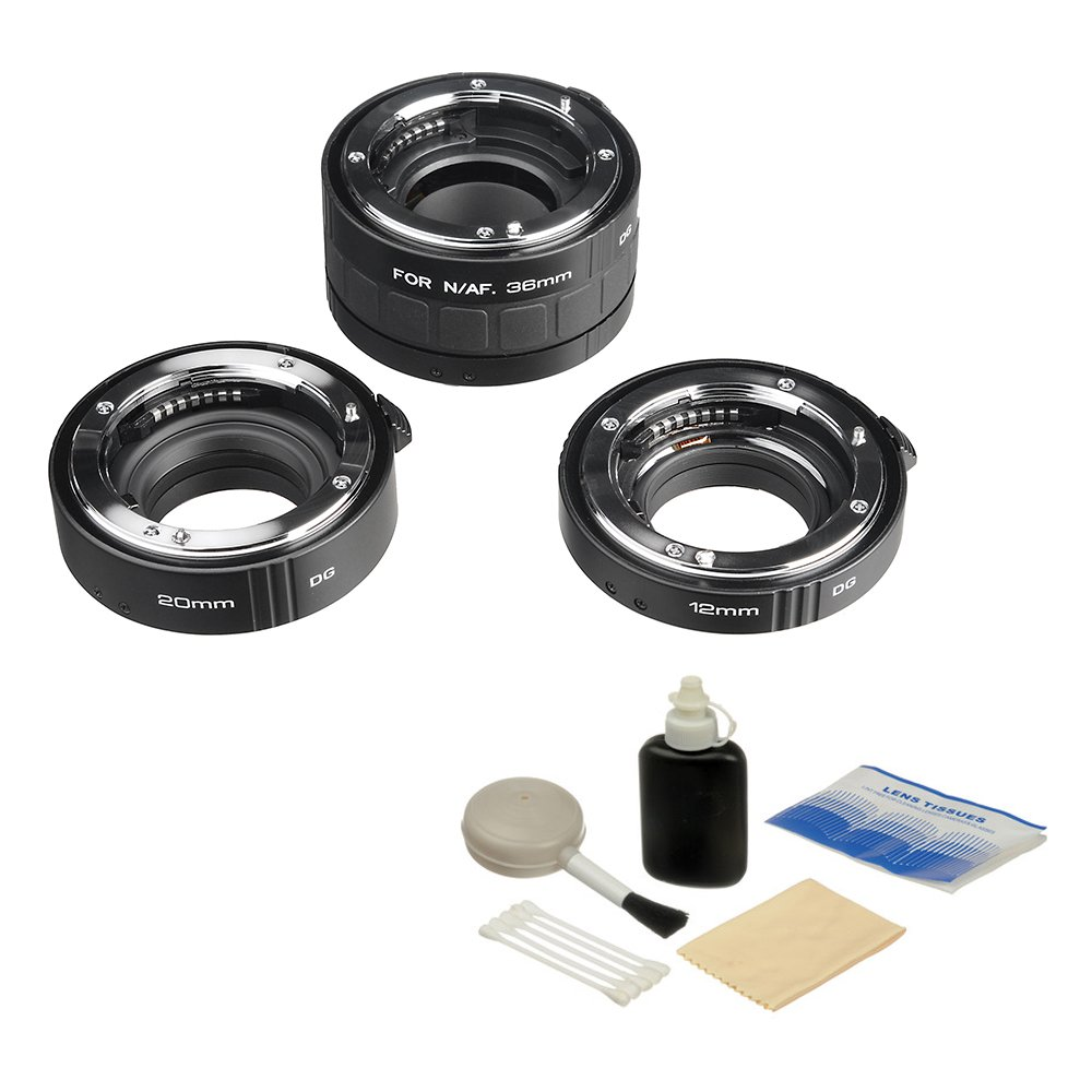 Kenko Auto Extension Tube Set DG (12, 20 & 36mm Tubes) for Nikon Digital and Film Cameras with General Brand Lens Cleaning Kit by Kenko
