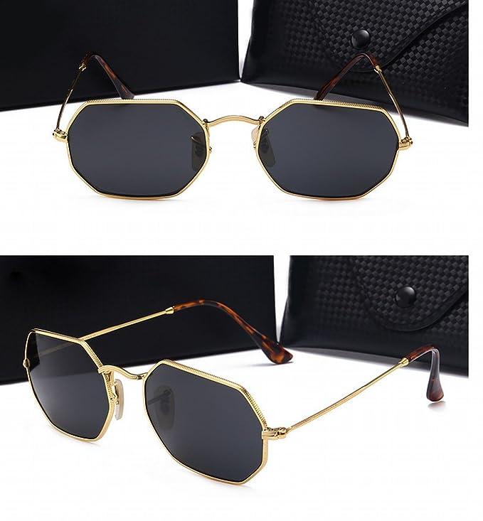 Herren Sonnenbrille Retro Metall Polygonal Glas Sonnenbrille High - Definition Farbe Linse Reflektierende Goldrahmen Schwarz Grau Linse PACSFYX
