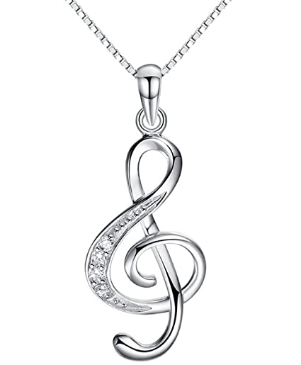 ef148dc8cd41cd Amazon.com: QXJX Music Note Pendant Necklace 925 Sterling Silver Cubic  Zirconia Jewelry For Women Girl Box Chain 18