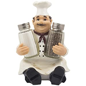 Sitting French Chef Pierre Glass Salt and Pepper Shaker Set with Decorative Display Stand Table Centerpiece Figurine for Country Cottage Decor Spice Racks & Gourmet Kitchen Decorations As Collectible Housewarming Gifts by Home-n-Gifts