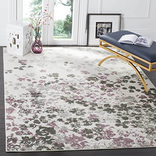Safavieh Adirondack Collection ADR115L Ivory and Purple Contemporary Floral Area Rug (3' x 5') - Accents Collection Floral Rug