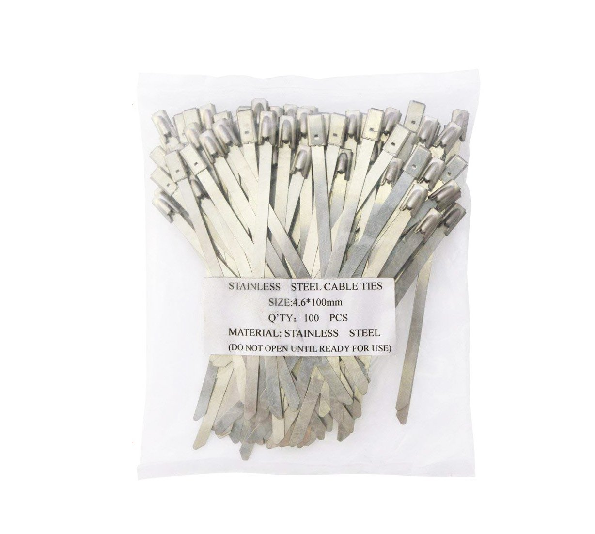 YXQ 100Pcs Cable Zip Ties 9.8x 4.6mm Cable Management Organizer Stainless Steel Disposable Exhaust Wrap Coated Locking