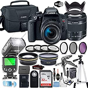 Canon EOS Rebel T7i DSLR Camera Bundle with Canon EF-S 18-55mm STM Lens + 32GB Sandisk Memory + Canon Case + TTL Speedlight Flash (Good Upto 180 Feet) + Accessory Bundle
