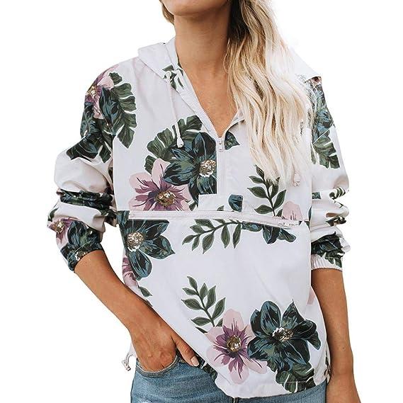 Sudadera Mujer Cremallera Fossen Otoño e Invierno Blusas Camiseta de Manga Larga con Tropical Hojas Patrón