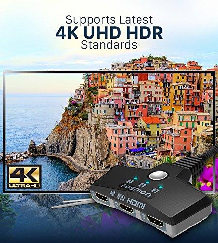 Fosmon 3-Porte Interruttore HDMI 4K 30Hz, 3x1 Switch HDMI Automatico Selettori Switcher Auto UHD HDR 3D Full HD 1080p… 3 spesavip