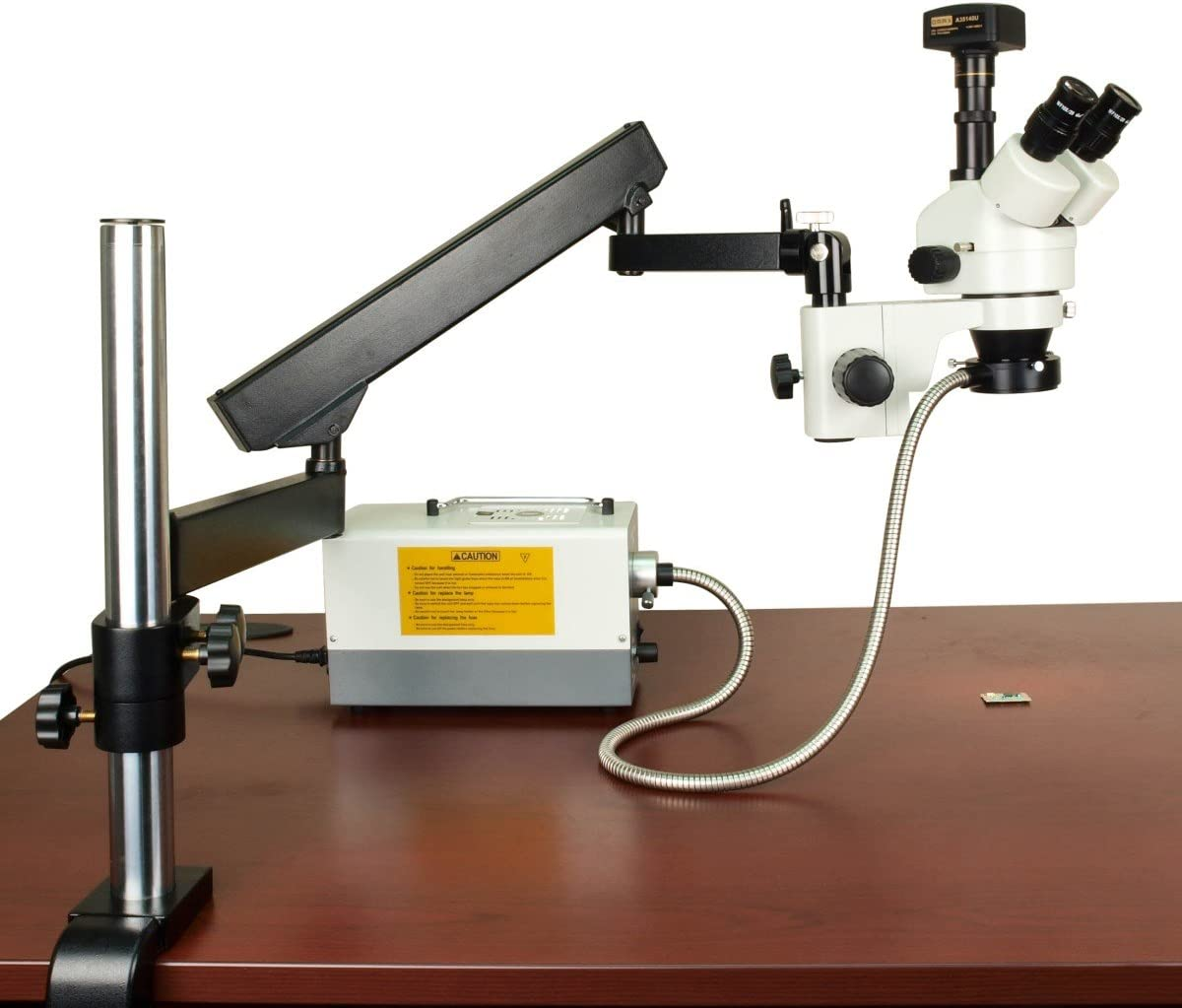 OMAX 2.1X-270X 14MP Digital Zoom Stereo Microscope on Articulating Arm with 150W Ring and Dual Lights