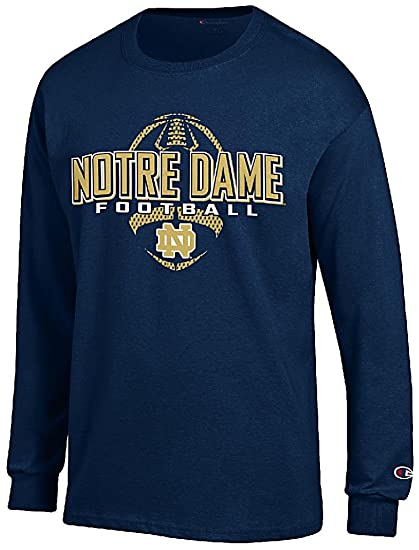Amazon Com Notre Dame Fighting Irish Navy Football Long Sleeve Tee