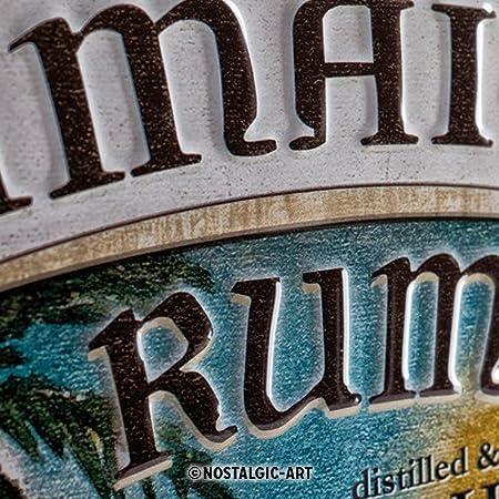 Empire Jamaica Rum Old de Aspecto met/álico con dise/ño de Puerto de 30 x 40 cm