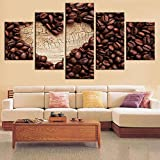 [LARGE] Premium Quality Canvas Printed Wall Art Poster 5 Pieces / 5 Pannel Wall Decor Coffee Collection - Heart Of Wood Painting, Home Decor Pictures - With Wooden Frame