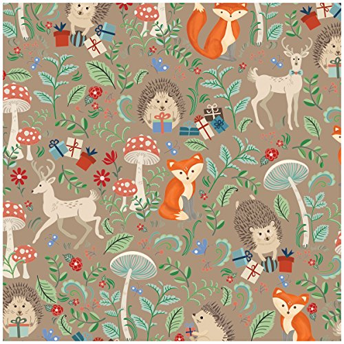 Jillson Roberts 6-Roll Count Baby Shower Gift Wrap Available in 5 Different Designs, Krafty Fox -