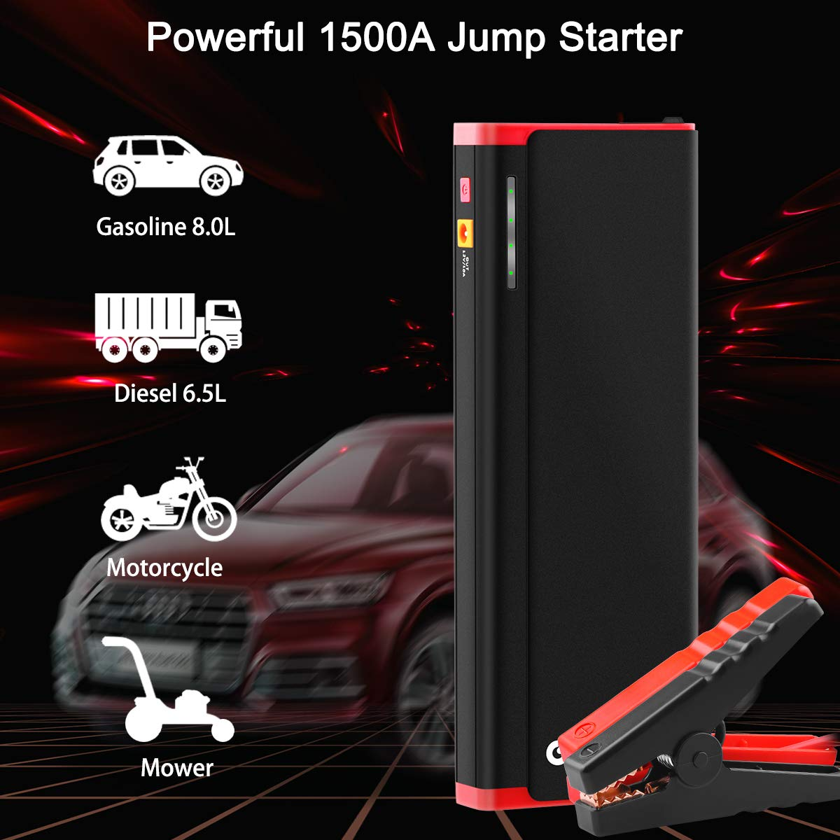 GREPRO Car Battery Jump Starter 1500A Peak 21000mAh Portable Jump Pack Aluminum Alloy Shell 12V Auto Battery Booster up to 8.0L Gas, 6.5L Diesel USB Quick Charge Power Pack with LED Light
