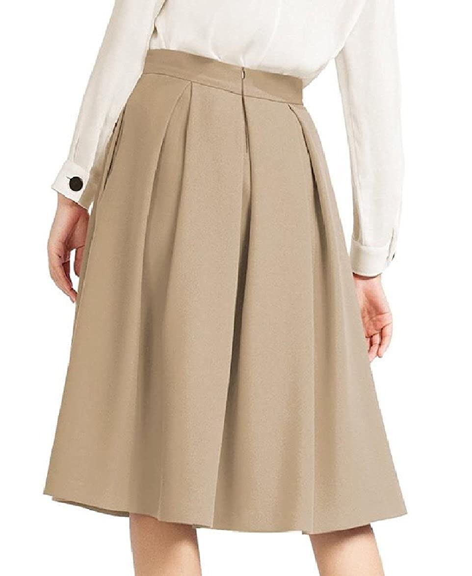 Ruhua Women A-Line Loose Ruffle Oversize Elegant Pockets Hi-Waist Midi Skirt