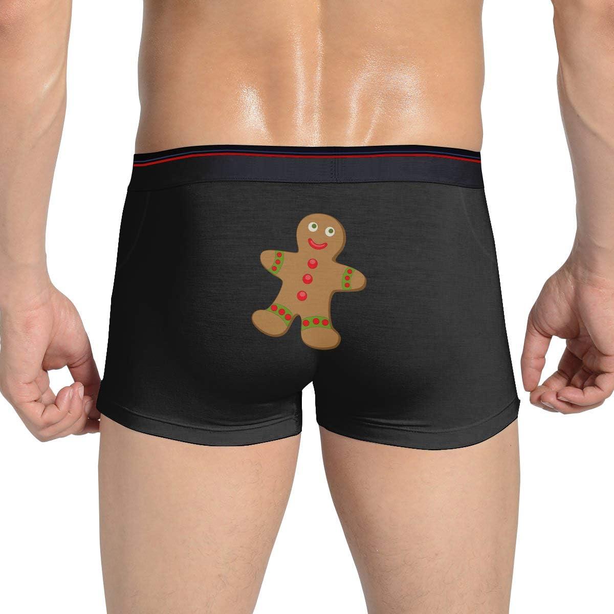 Mens Underwear Christmas Gingerbread Cotton Custom Boxer Brief FunnyBoy Briefs