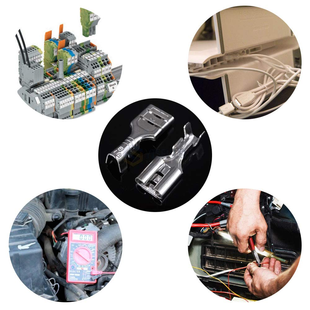 KINDPMA 450pcs Flachsteckh/ülsen Set Spade Kabelschuhe Weibliche /& m/ännliche Flachstecker 6,3//4,8//2,8 mm Crimpverbinder mit Isolierh/ülse f/ür Schalter Batterien Autos