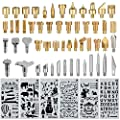 60 pcs Wood Burning Tips Set and Stencils, Pyrography Wood Burning Alphabet Numbers Symbols Stamps Set? Include 54 Assorted Wood Burning/Carving/Embossing & Soldering Tips and 6 Stencils?