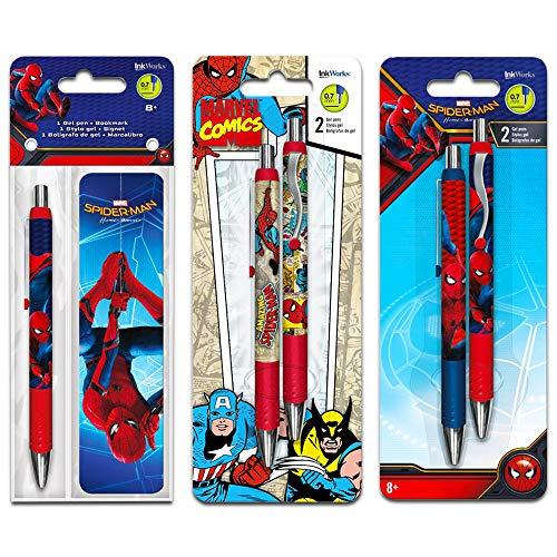 Marvel Comics Amazing Spider-Man Gel Pens and Bookmark Set -- 4 Spiderman Pens with Bookmark (Spiderman Office Supplies, School Supplies)