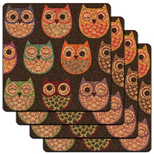 Colorful Owls Pattern Profile Coaster