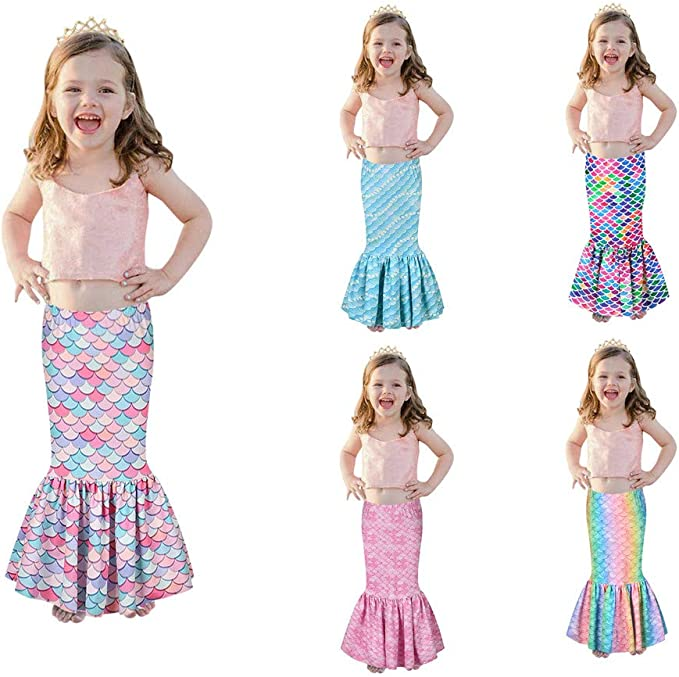 Kids Girls Glossy Fish Scales Dress Toddlers Mermaid Tail Party Cosplay Costume