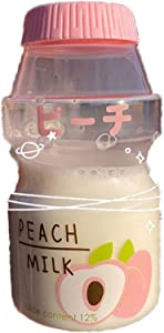 JCWH Japanese and Korean Version Milk Cup, Cute Yakult Straw Coffee Cup, Creative Water Cup Portable Anti-Fall Outdoor Adult and Child Transparentpinkpeach