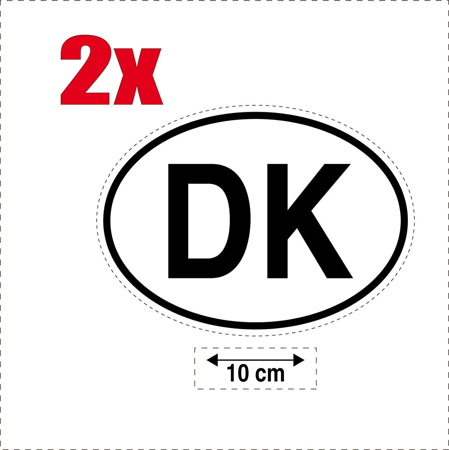 DK Denmark 2x Oval Country Flag Code Self-Adhesive Stickers for Cars and Motorbikes