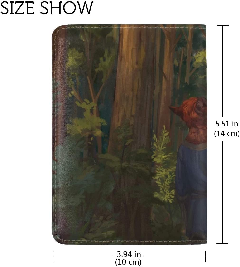 Animal Forest Trees Leather Passport Holder Cover Case Travel One Pocket