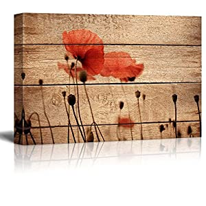 wall26 Canvas Prints Wall Art – Poppy Flowers on Vintage Wood Background – 24″ x 36″