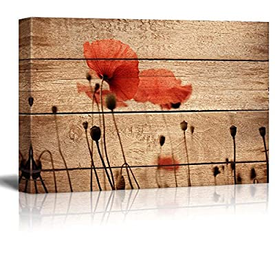 Canvas Prints Wall Art - Poppy Flowers on Vintage Wood Background - 12