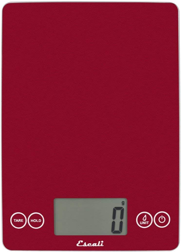 Escali Arti Glass Digital LCD Display Kitchen, Office, Baking Herb Scale w/Nutrition and Calorie Counting Feature, 15lb Capacity, 9 x 6.5 x 0.75, Rio Red