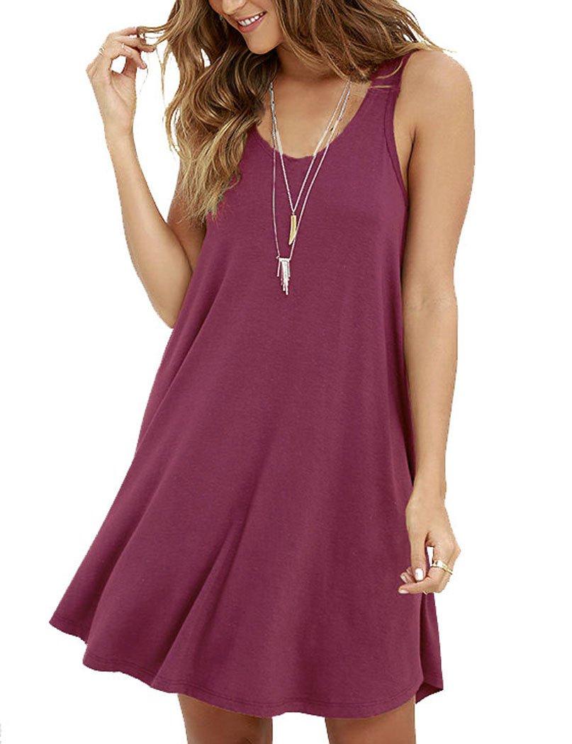 MOLERANI Women's Casual Swing Simple T-shirt Loose Dress, Medium,  Mauve