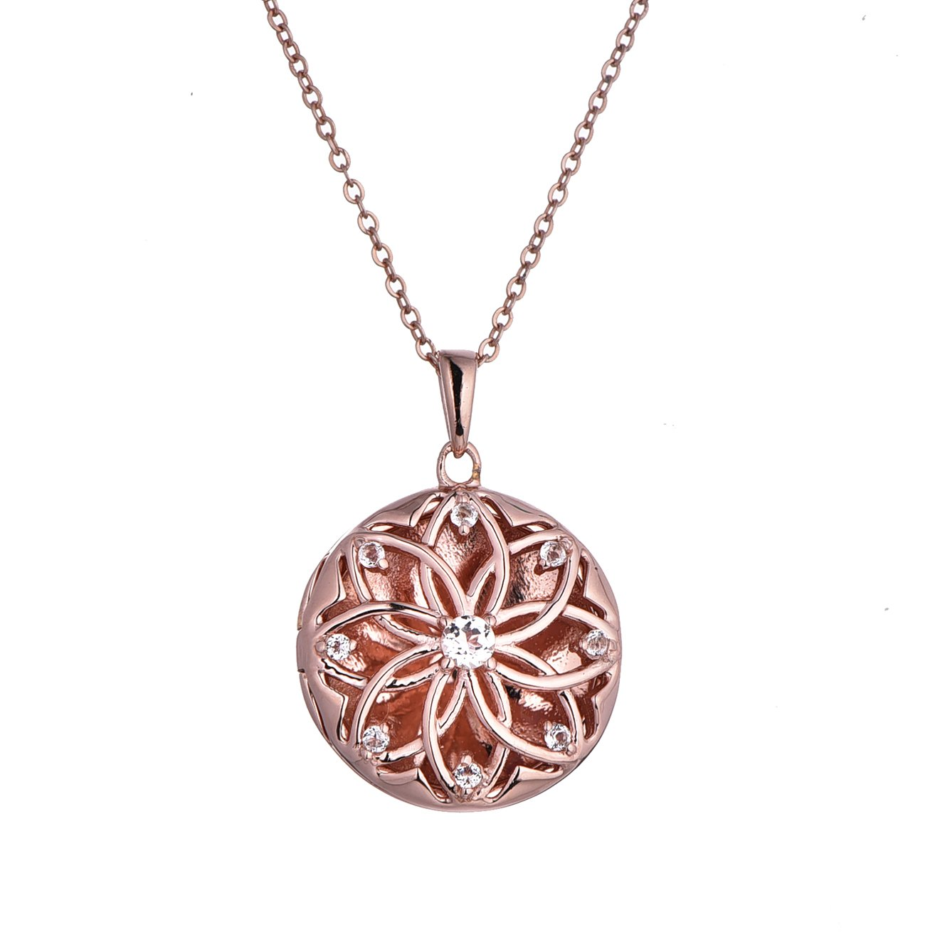 Rose Gold-White Topaz-Custom Photo Locket Necklace-18-inch Chain-The Helen by With You Lockets