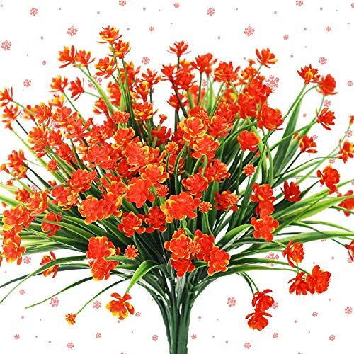 E-HAND Artificial Flowers Outdoor Outside UV Resistant Fake WindowBox Pot Plants Red Orange