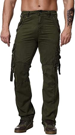Men/'s Pocket outdoor Combat Cotton Cargo Pants Military Straight  leg Trousers
