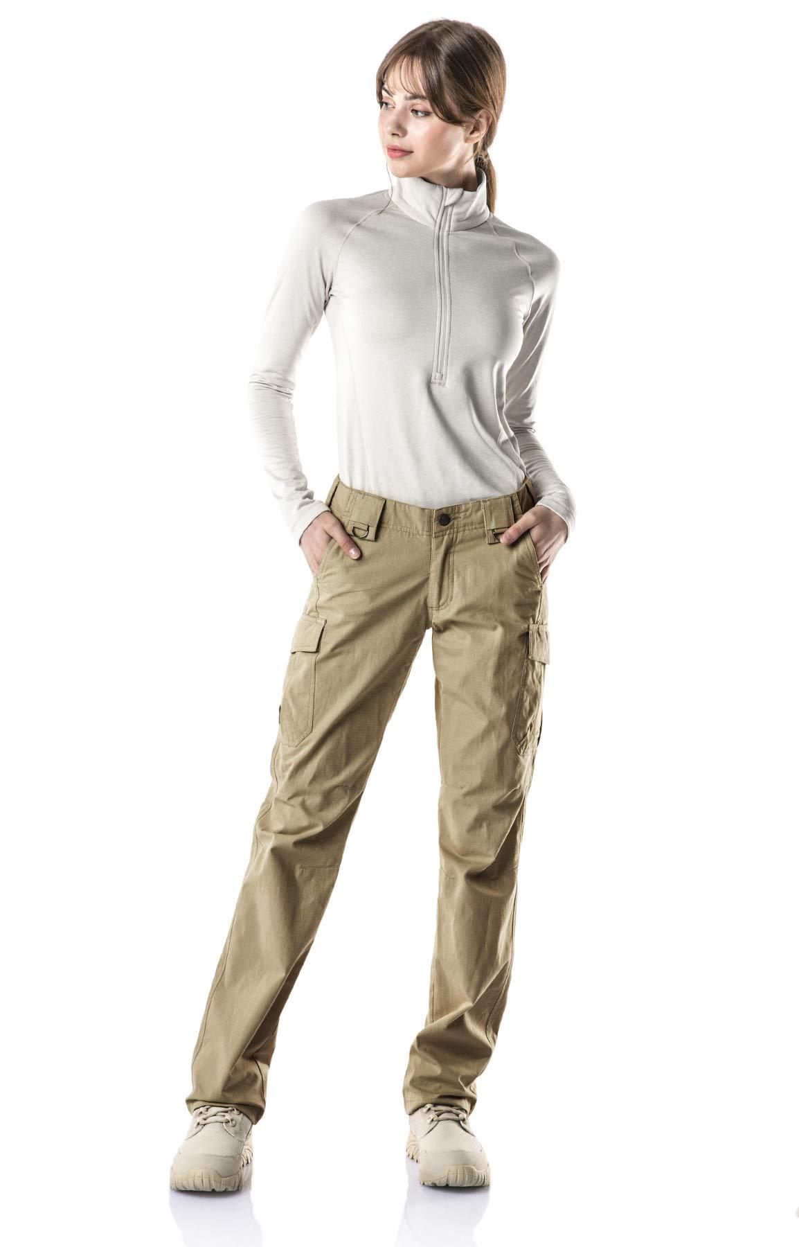 CQR CQ-WFP510-KHK_14/Long Women's Flex Stretch Tactical Long Pants Lightweight EDC Assault Cargo wiith Multi Pockets WFP510 by CQR (Image #3)